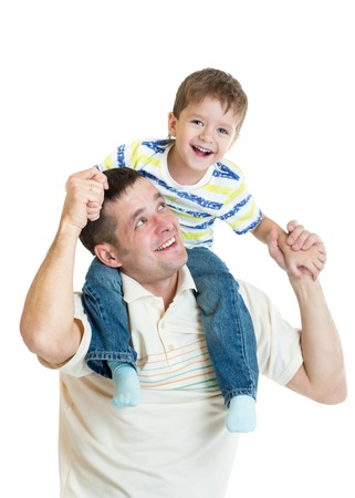 kid son riding dads shoulders isolated on white background photo