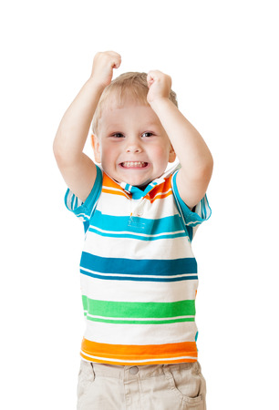 kid boy with hands up isolated on white background photo