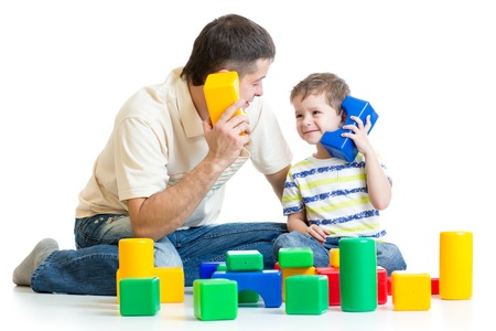 roleplaying: father and kid boy role-playing together isolated Stock Photo