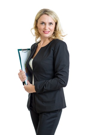 Smiling businesswoman holding clipboard in hands isolated over white