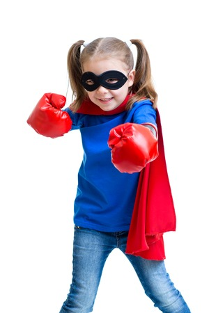 Superhero kid girl with boxing gloves isolated photo