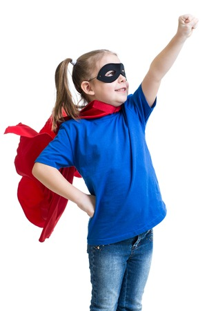kid girl plays superhero isolated on white background Stock Photo
