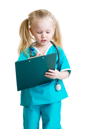 doctor clipboard: Adorable child uniformed as doctor over white background