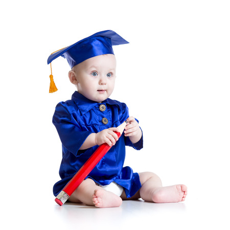 prodigy: Baby with big pencil in academician clothes