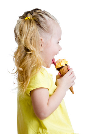 licking in isolated: side of kid eating ice cream isolated