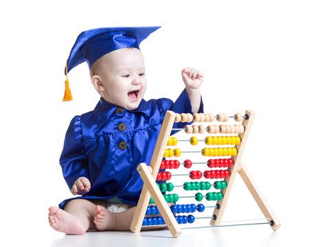 early learning: Muchacho del cabrito con el juguete mostrador. Concepto de ni�o el aprendizaje temprano Foto de archivo
