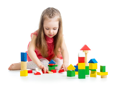 kid child girl playing on floor isolated Stockfoto