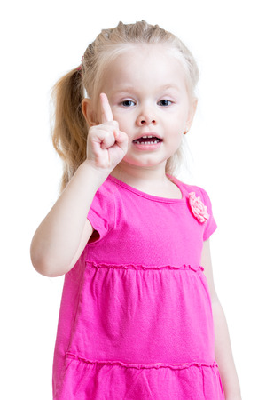 cute kid girl counting and showing forefinger photo