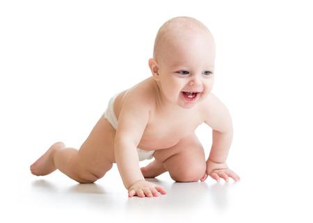 crawling baby: smiling crawling baby boy isolated on white background