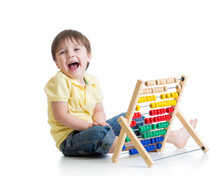 Prodigy: Toddler boy playing with abacus toy isolated Zdjęcie Seryjne
