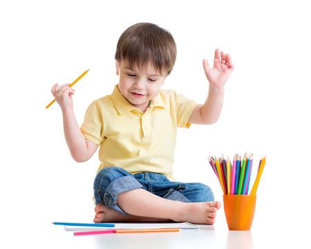 흰색에 고립 된 앨범의 연필 드로잉 행복 한 아이,