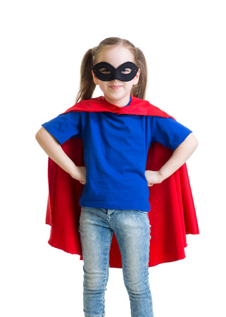 caped: Child girl pretending to be a superhero