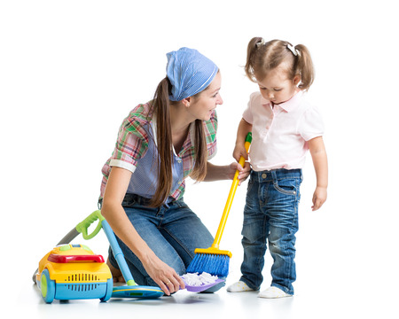 vaccuum: Little girl and mom cleaning room isolated