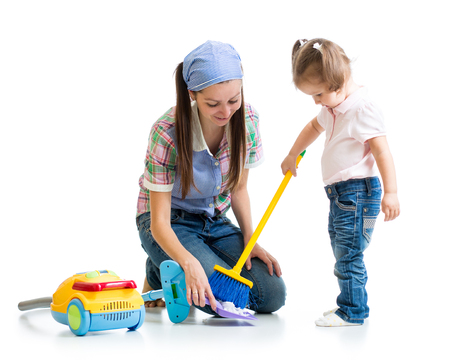 vaccuum: Child girl and mom cleaning room isolated