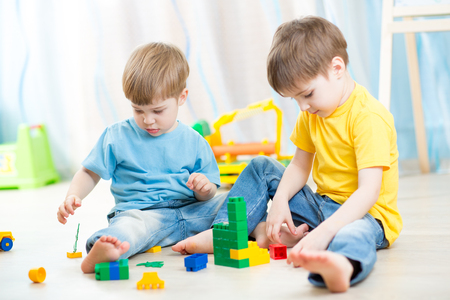 constructor: kids playing with constructor Stock Photo
