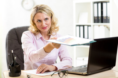 women business: businesswoman with documents