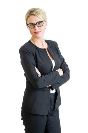 zelfverzekerde zakenvrouw weared bril op wit wordt geïsoleerd Stockfoto