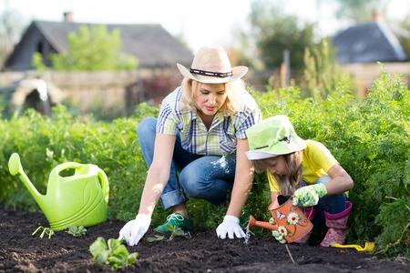 regar las plantas: Mujer y niña niño, madre e hija, jardinería juntos sembrar plantas de fresa en el jardín