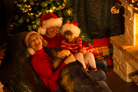fireplace living room: Happy family with German Shepherd dog sitting at Christmas tree near fireplace in cosy living room Stock Photo