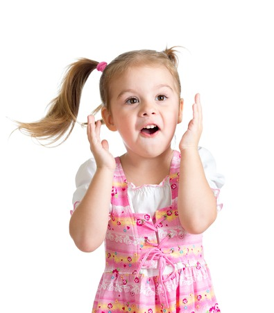funny child girl with her hands close to face isolated on white background photo