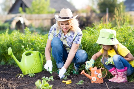 Woman with little daughter planting seedlings in garden