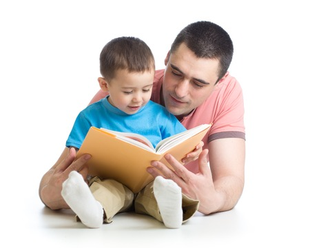 Dad and child son reading together isolated on white Stock Photo