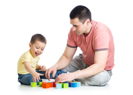 toddler boy: Young father playing with his son child