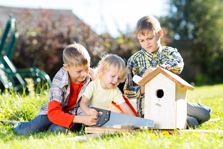 tinkering: Happy children making wooden birdhouse by hands. Older brother teaches his younger brother.