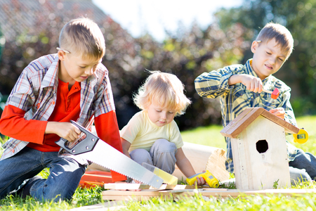 nesting: Children brothers making together nesting box outdoors