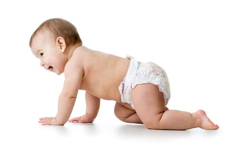 crawling baby boy  isolated on white background Stock Photo