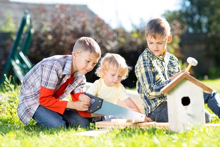 nesting: Kids making together nesting box outdoors in summer. Older boy teaches his younger brother handicrafts