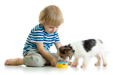 baby playing: adorable boy feeding a puppy Stock Photo