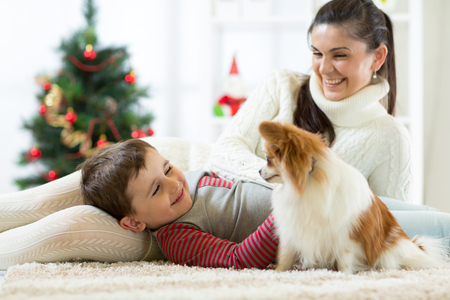 Family with dog at christmas tree Banque d'images
