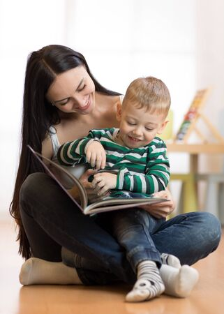 Mom reads with kid