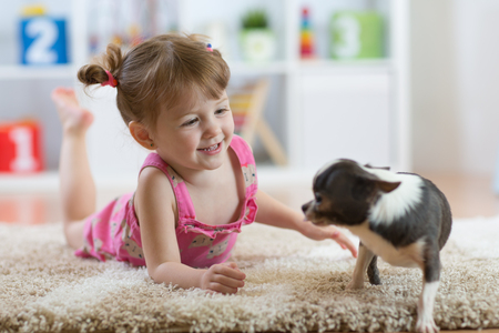 The child playing with the dog lying on floor at home Banque d'images