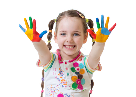 Portrait of child girl with painted hands