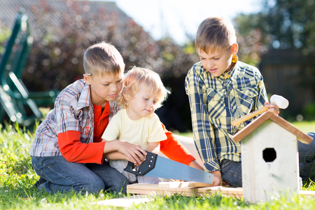 Brothers making wooden birdhouse by hands. Older child teaches his younger brother. Stockfoto