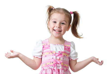 Surprised funny child girl on white background