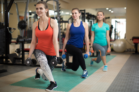 Group of happy women with dumbbells flexing muscles in gym. Concept of sport, fitness, health and lifestyle. Stock Photo