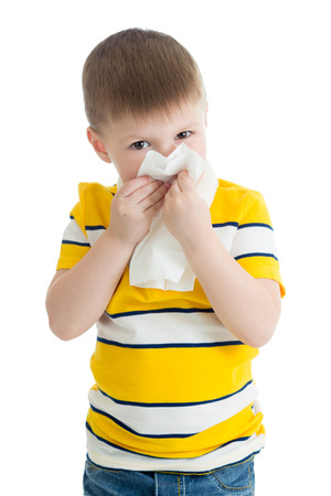 portrait of a child wiping his nose Stock Photo