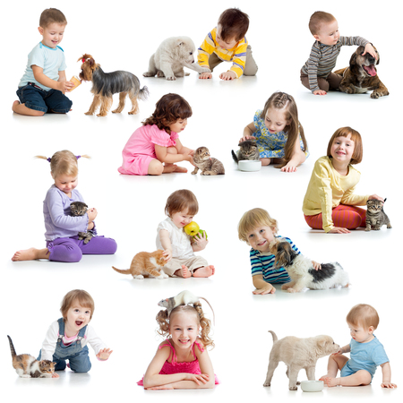 set of children babies kids with pets isolated on white Stock Photo