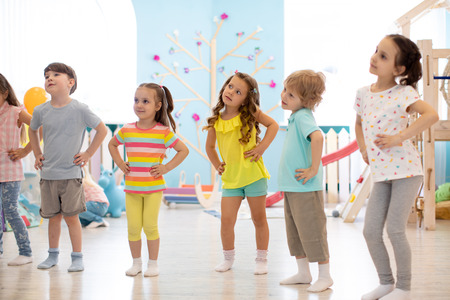 Children are engaged indoor physical exercise