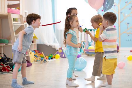 children have a fun at birthday party Banco de Imagens