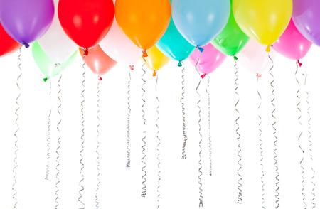 colourful balloons helium filled on white background Banco de Imagens