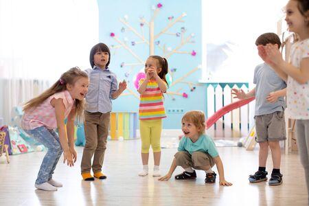 Leisure of preschool children. Acting and developing games for kids in kindergarten Archivio Fotografico
