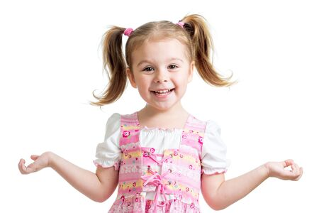 Portrait of emotionally kid. Cheerful cute little girl isolated on white background. 版權商用圖片