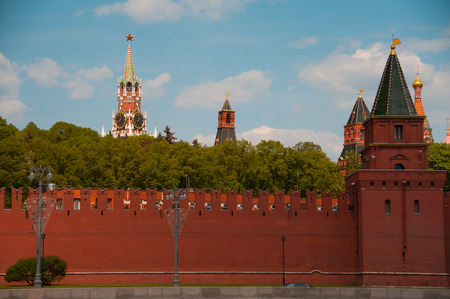 Moscow, Russia - May 9, 2016: View of the Moscow Kremlin against the blue sky on a sunny day, May 9, 2016