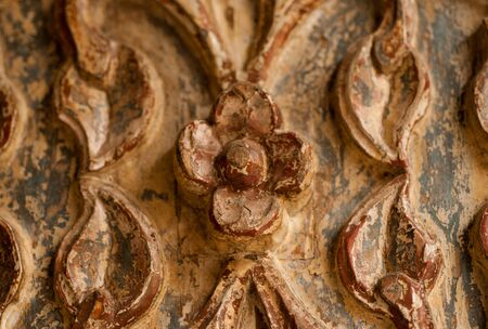ancient carving on the door in Turkey, Goreme Stock Photo