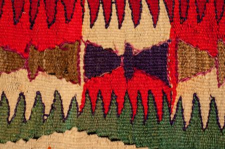 turkish ethnicity: vintage bright carpet handmade wool sheep