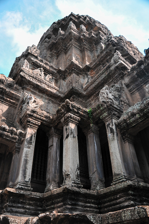temple in Cambodia Angkor Wat view of the facade of the building in the afternoon, Cambodia on November 4, 2014 Editorial
